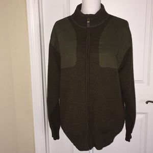 Men's Orvis Wool Jacket Front Patches Green Sz L